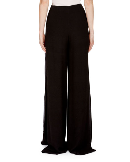 Farnley Wide-Leg Side-Drape Textured Silk Pants