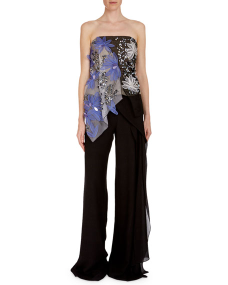 Hempton Floral-Embroidered Sequined Bustier Top
