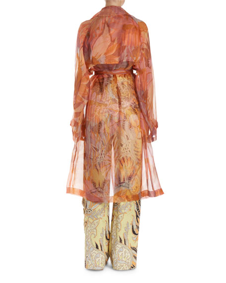 Rigy Organza Trench-Style Floral Jacket