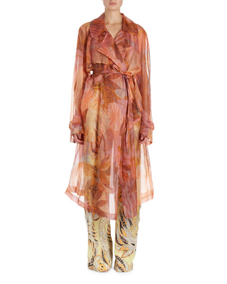 Dries Van Noten Rigy Organza Trench-Style Floral Jacket