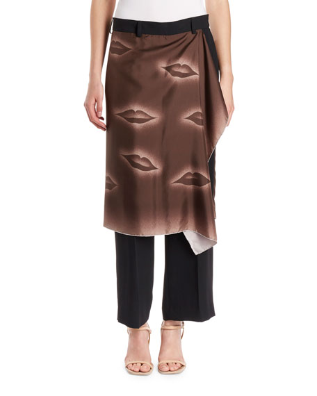 Straight-Leg Trousers w/ Lip-Print Skirt Overlay