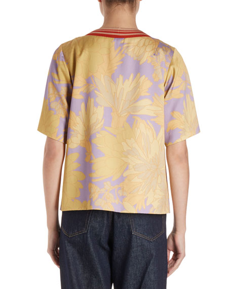 Corallo Short-Sleeve Floral Blouse w/ Striped Knit Collar