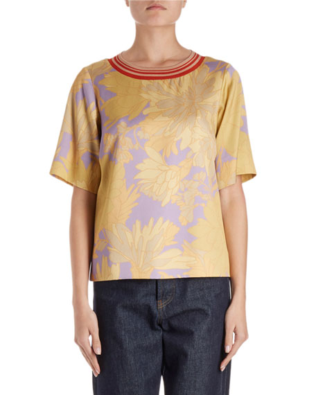 Dries Van Noten Corallo Short-Sleeve Floral Blouse w/