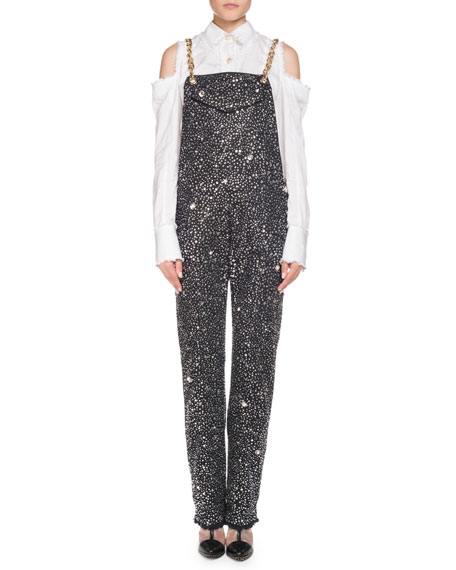 Crystal-Embellished Chain-Strap Denim Overalls