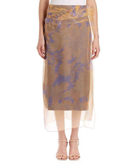 Dries Van Noten Sagax Floral Midi Skirt w/