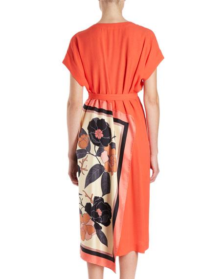 Defix Short-Sleeve Wrap Dress w/ Foulard Side Scarf Detail