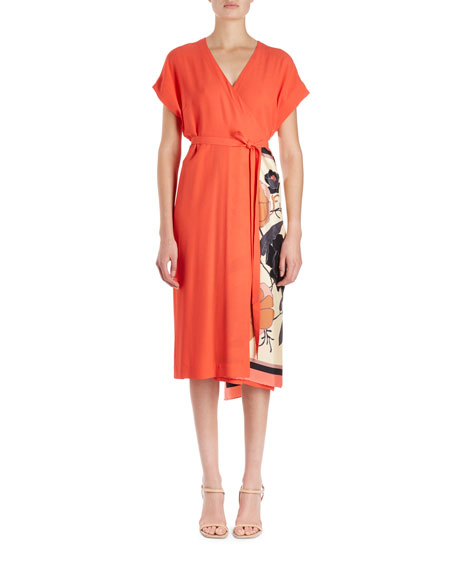 Dries Van Noten Defix Short-Sleeve Wrap Dress w/