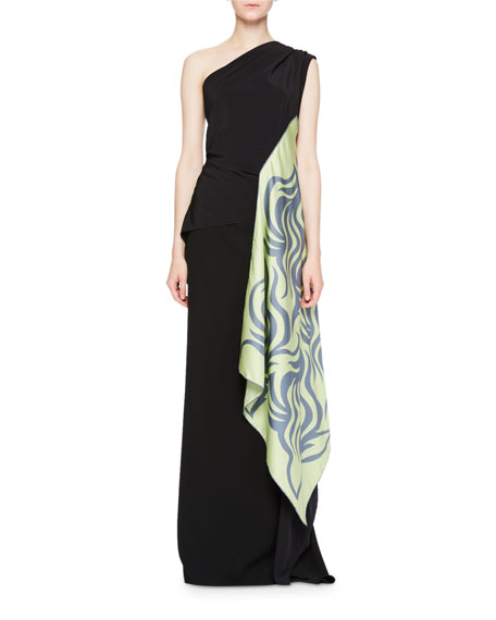 Dries Van Noten Cremy One-Shoulder Gown w/Foulard Sash