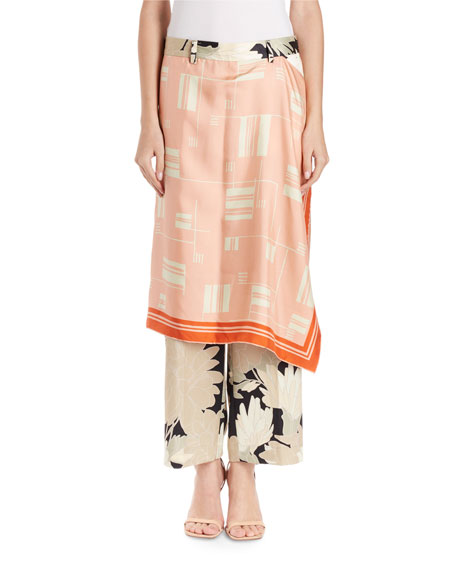Panax Floral Trousers w/ Foulard Skirt Overlay