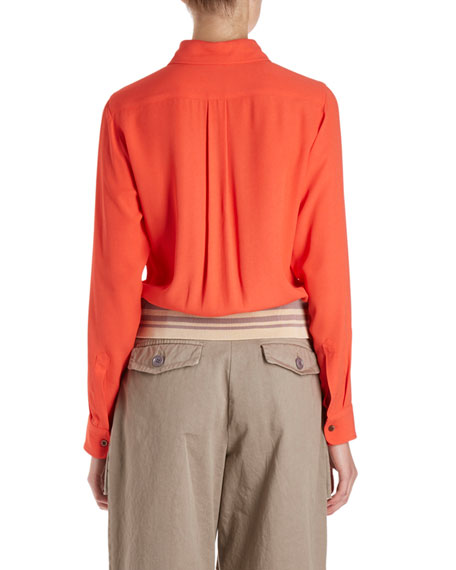 Cordi Long-Sleeve Collared Blouse w/ Knit Waistband