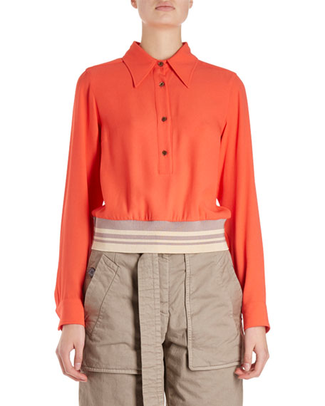 Dries Van Noten Cordi Long-Sleeve Collared Blouse w/