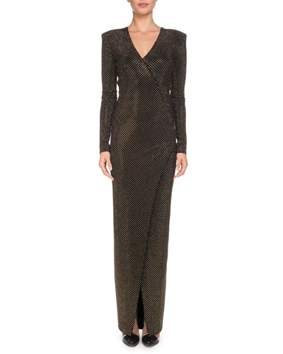 V-Neck Long-Sleeve Strass Wrap Evening Gown