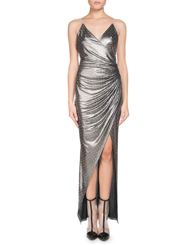 Sleeveless V-Neck Chain-Strap Strass Wrap Evening Gown