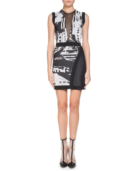 Balmain Sleeveless Newspaper-Print Sheath Mini Cocktail Dress
