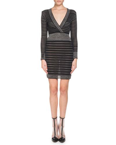 Long-Sleeve Deep V-Neck Striped Knit Cocktail Dress
