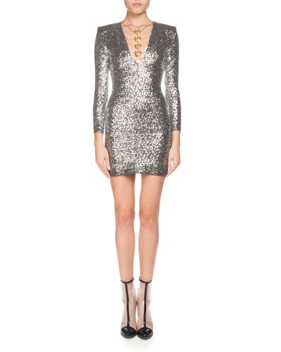 Coin-Trim Sequined Mini Cocktail Dress