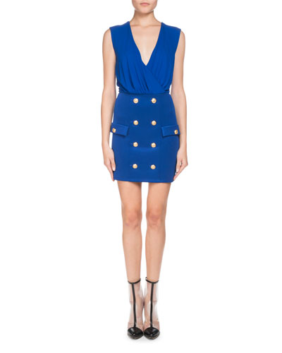 Sleeveless V-Neck Mini Cocktail Dress with Button-Details
