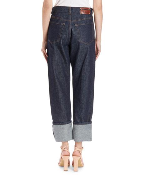 High-Waist Cuffed Jeans
