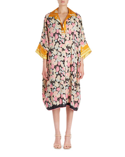 Daze Floral Foulard Cocoon Shirtdress