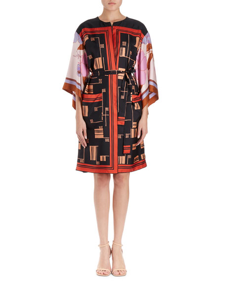 Dries Van Noten Ramido Graphic-Print Silk Kimono Coat