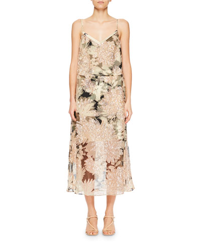 Delax Two-in-One Floral-Print Organza Midi Dress