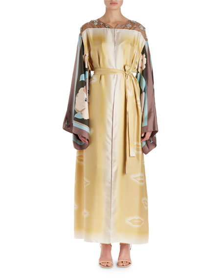 Dries Van Noten Ramidos Lip-Print Kimono Dress w/Foulard