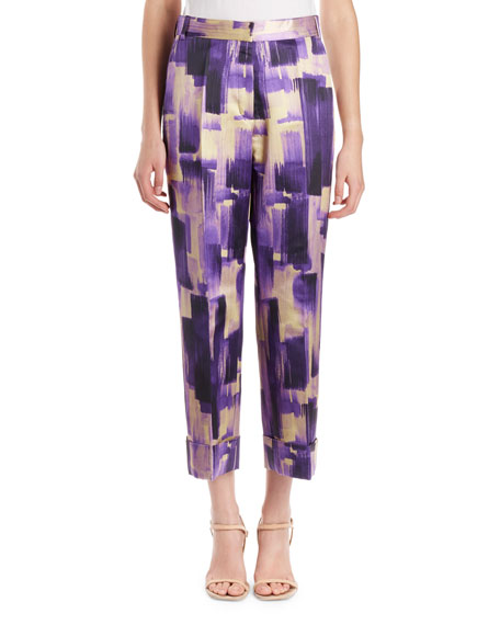 Prope Brush-Print Wide Cuffed Pants