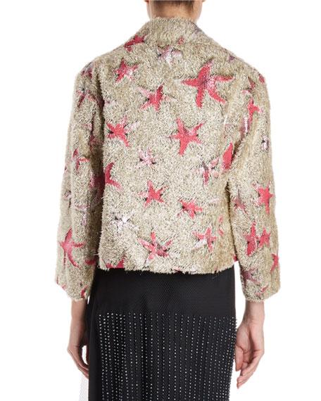 Eyelash-Fringe Starfish Pattern Boxy Jacket
