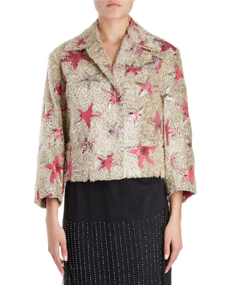 Dries Van Noten Eyelash-Fringe Starfish Pattern Boxy Jacket