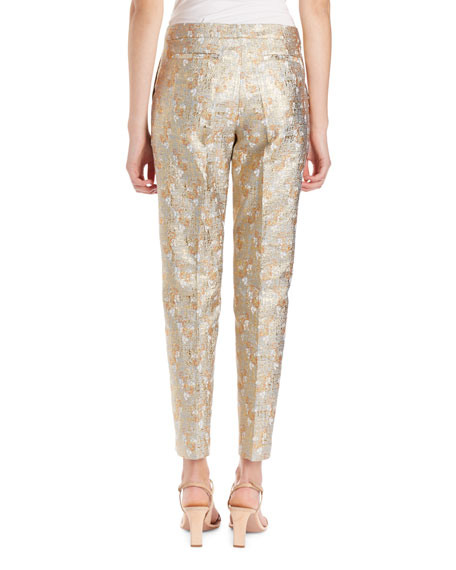 Poumas Lurex Floral Jacquard Pants