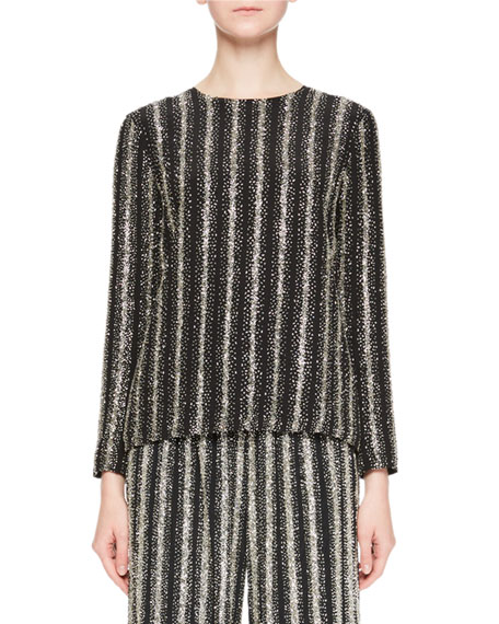 Dries Van Noten Caius Long-Sleeve Open-Back Striped Sequin