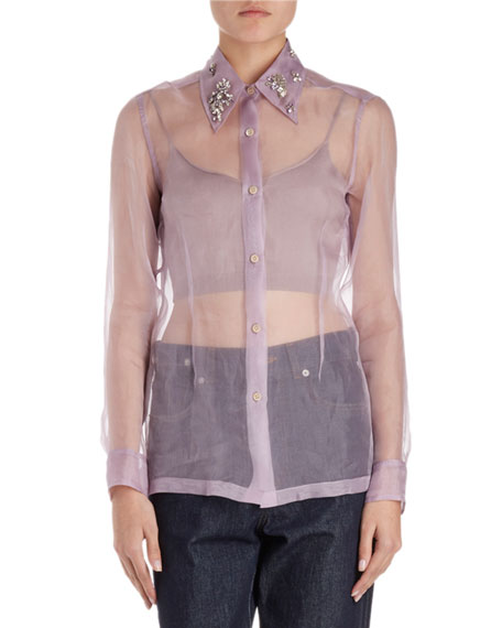 Capios Jeweled Organza Blouse