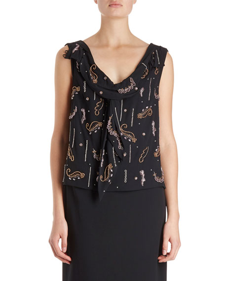 Dries Van Noten Certus Sleeveless Drape Blouse w/