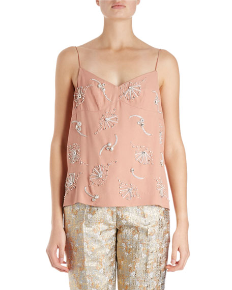 Dries Van Noten Cieo Camisole w/ Jewel Embellishment