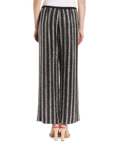 Puvis Wide-Leg Sequin Striped Pants