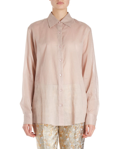 Dries Van Noten Clavell Long-Sleeve Cotton Voile Blouse