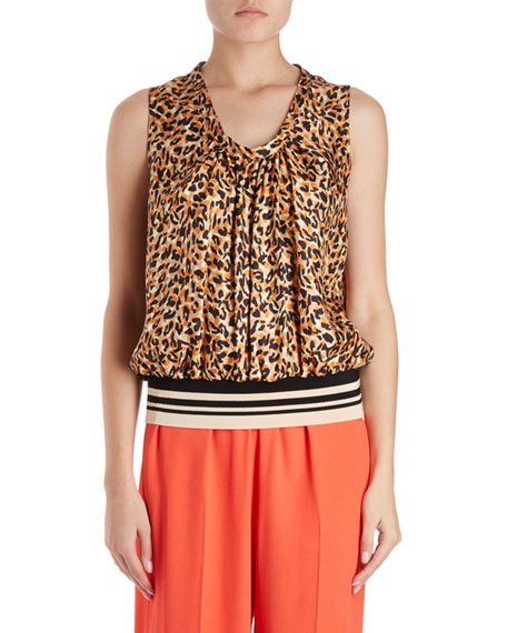 Dries Van Noten Cemian Leopard-Print Sleeveless Silk Blouse