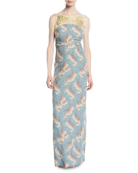 Delicia Sleeveless Jeweled-Yoke Ginkgo-Print Column Evening Gown