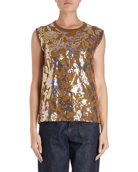 Dries Van Noten Haiko Sleeveless Scattered Sequin Top