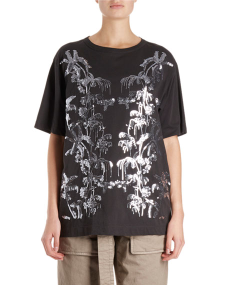 Haydu Short-Sleeve T-Shirt w/ Sequin Leaves