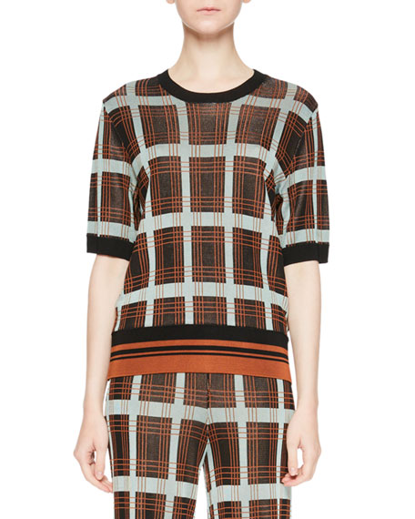 Dries Van Noten Janelle Plaid Crewneck Sweater w/