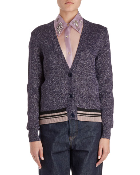 Dries Van Noten Jacy V-Neck Lurex Cardigan Sweater