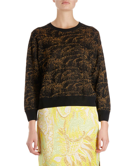 Dries Van Noten Janique Long-Sleeve Spontaneous Palm Pullover