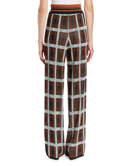 Jaunt Full-Leg Plaid Pants w/ Knit Waistband
