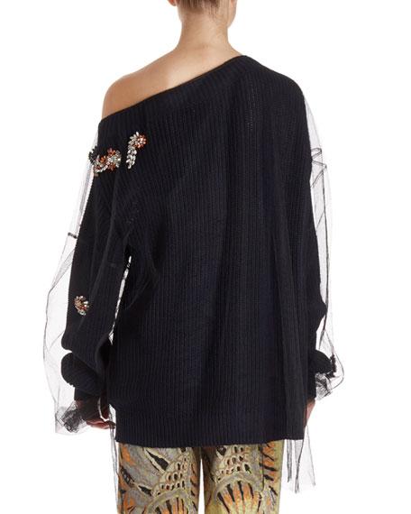 Jazma Oversized One-Shoulder Knit Sweater w/ Tulle Overlay