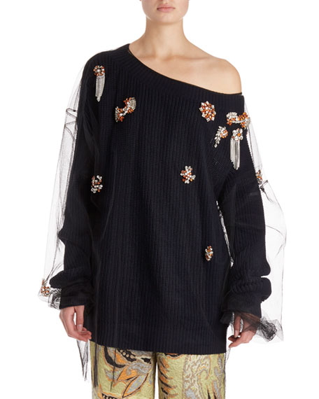 Dries Van Noten Jazma Oversized One-Shoulder Knit Sweater