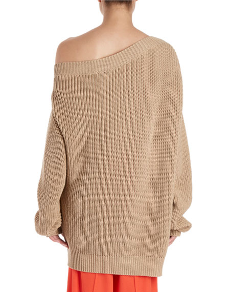 Jazma Oversized Shaker-Knit Off-Shoulder Sweater