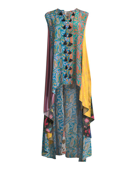 Iman Patchwork-Print Sleeveless A-Line Tunic Dress