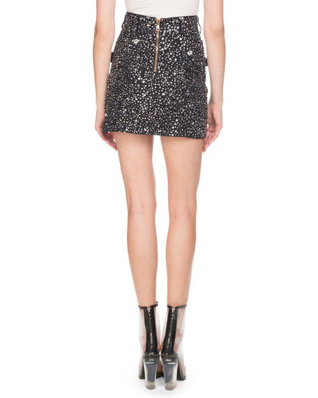 Strass-Embellished Denim Mini Skirt
