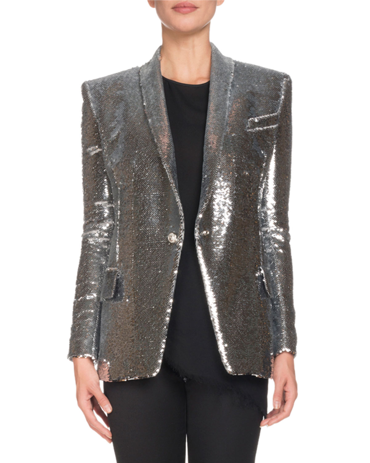4f7380a1 Balmain Single-Breasted Sequined Paillette Jacket | Neiman Marcus